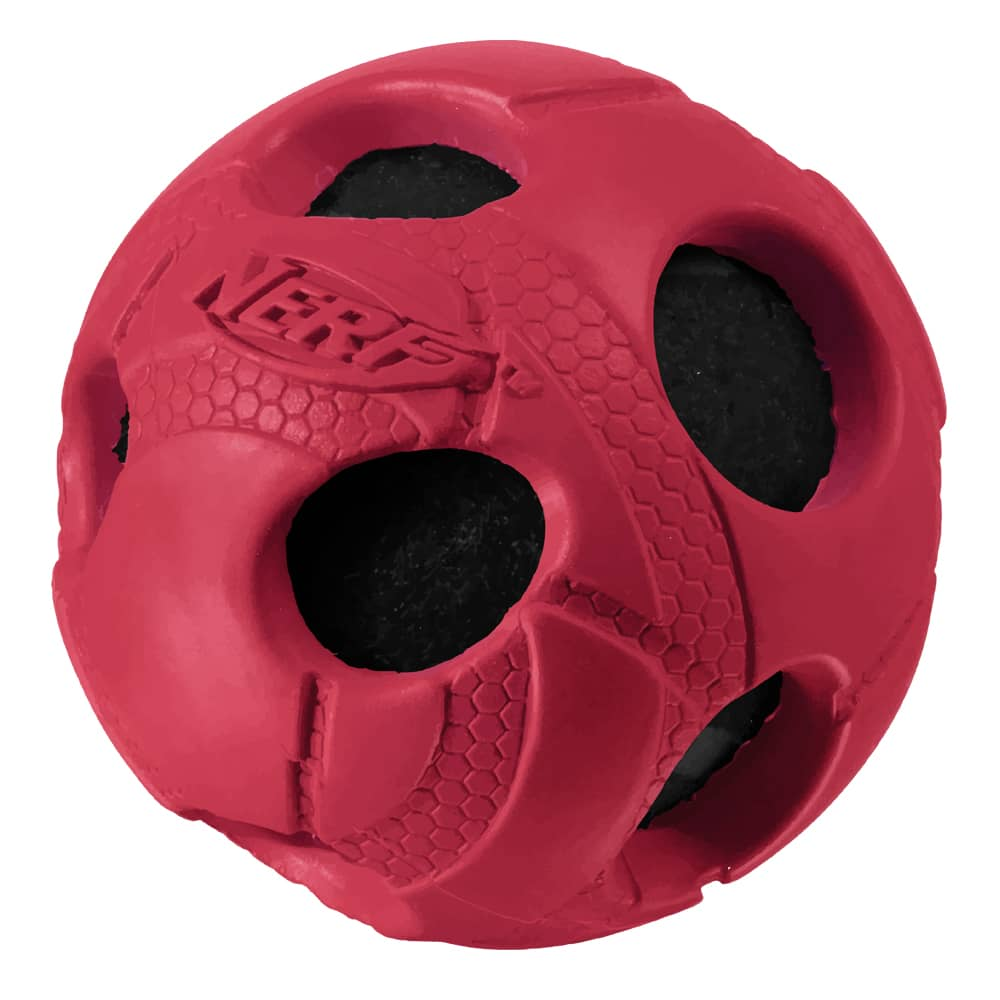 Nerf Dog 3.5in Bash Rubber Wrapped Tennis Ball Dog Toy Red